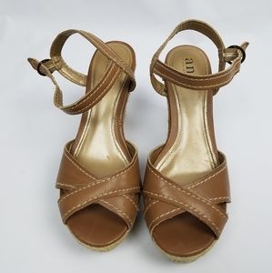 a.n.a Shoes - A.N.A brand, tan leather wedges, criss cross detai